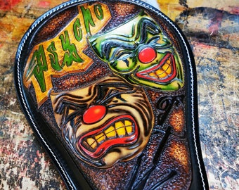 Laugh Now Cry Later Leather Motorcycle Seat Custom Harley Davidson Chopper Bobber Solo Seat Knucklehead Bagger handmade Chicano old school
