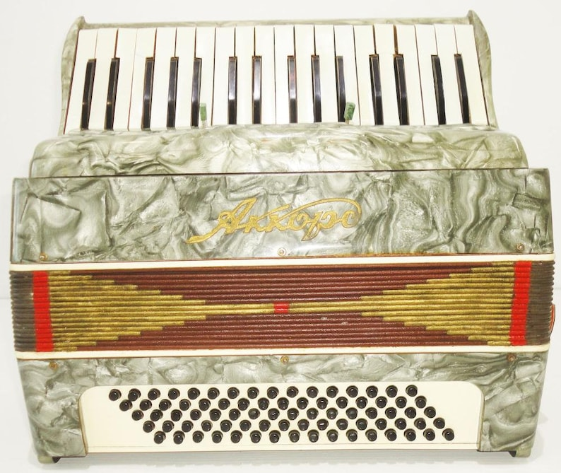 Very Nice Cheap Russian Piano Keyboard Accordion Akkord 80 Bass 4 Registers  1069, Excellent Used Accordian For Sale