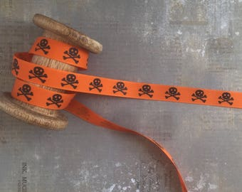 Ribbon with Skull and Crossbones Print, Orange, 15mm x 1m T307-2