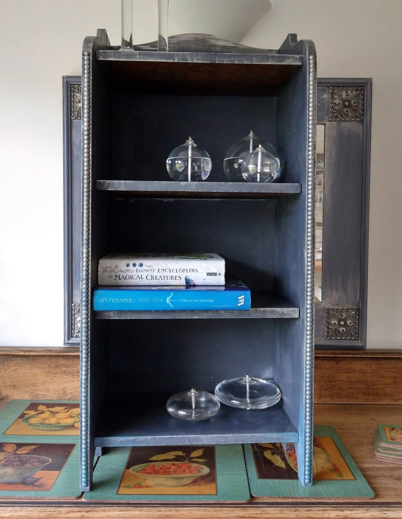 Mid Century Shabby Chic Graphite Chalk Painted Bookcase