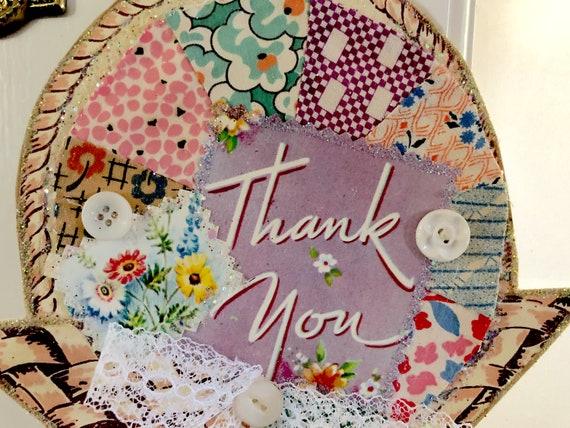 Handmade Greeting Card Decoration Vintage Feedsack Fabric Patchwork Dresden Plate