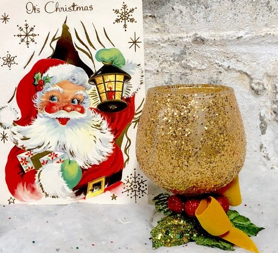 Vintage Christmas Candles.Vintage Christmas Candles Mid Century Brandy Snifter Glittery Decoration