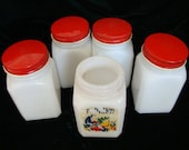 Five Milk Glass Spice Jars by Anchor Hocking - Anchor Hocking Spice Jars - Vintage Spice Jars - Milk Glass Spice Jars - Retro Spice Jars