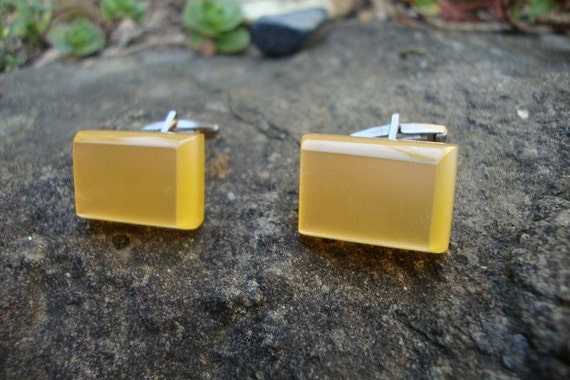 Yellow Lucite Cuff Links - Collectors Cuff Links -