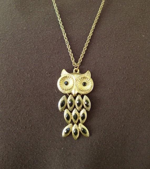 Antique gold bronze Owls Statement Chain Necklace Metal