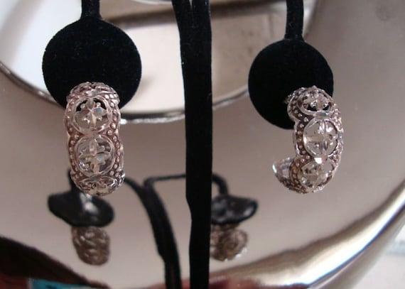 Sterling Half Hoop Earring - Filigree Half Hoop Ea