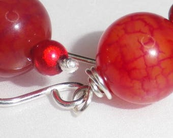 Fine Agate the red silver jewelry 925 • stone •, • precious and chic jewelry red Crackle agate earrings