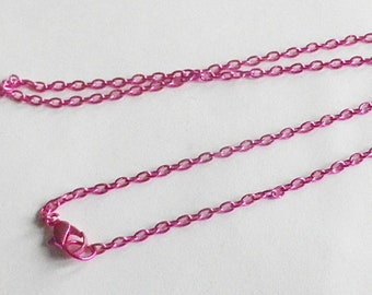1 x bright pink oval link chain necklace
