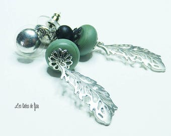 Feather earrings silver glass beads Bohemian style • • • •