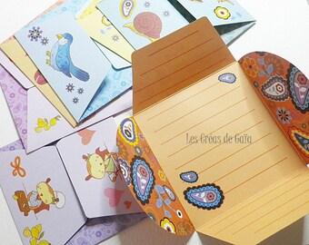 8 x envelopes kawaii stationery for kids or collectors set