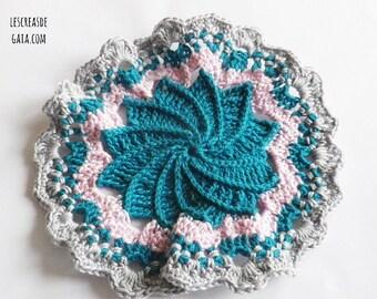 1 x round hand-made cotton yarn, crochet, flower or dream catcher