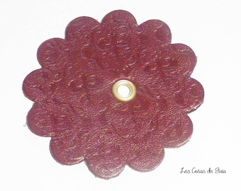 1 x flower textured vintage leather cutting