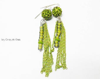 Earrings Tropical Indy • beads, metal and Crystal bling bling Look • Flake effect