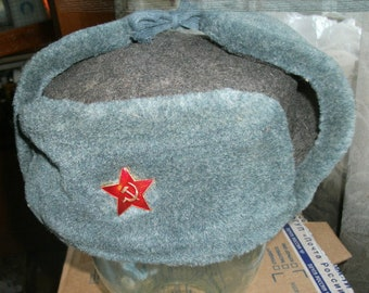 e48b5416d03 Vintage 1980s military winter hat Ushanka 58 size. Badge Soviet Army as a  present. Russian Red Army cap W