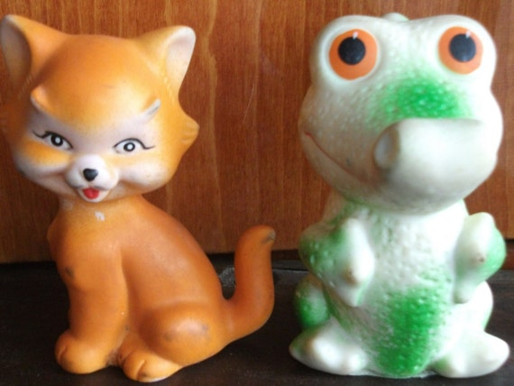 Soviet vintage toys. Set 2 pcs. Rubber fox and crocodile. USSR | Etsy