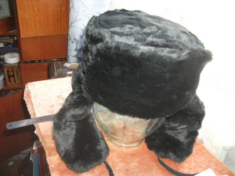 Russian winter hat Ushanka 56 size. Black artificial fur.  e6caee443be8