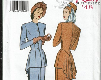 Butterick retro '48 Sewing Pattern 6759 c. 2000 Misses Top and Skirt sz 12-14-16 Uncut / Unused