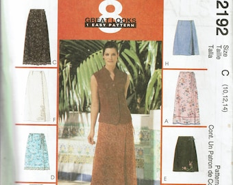 McCall's Sewing Pattern 2192 c. 1999 Misses Wrap Skirts sz 10-12-14 Uncut / Unused