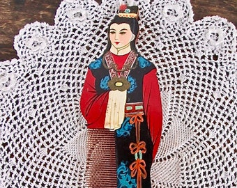 Asian Hand Sawn and Painted Wooden Comb