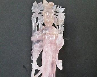Sale Asian Carved Rose Quartz Geisha Figurine