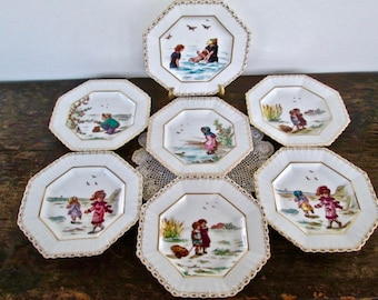 Sale Set of Seven Adorable Children's Nursery Rhyme Plates