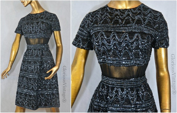 """60s MOD sequined GOGO dress Bust Size 34"""""""