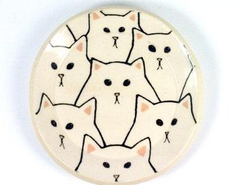 "White Cat Plate- 4"""
