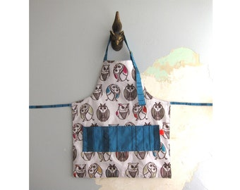Toddler Apron with pocket - Owls
