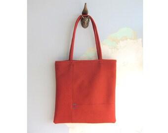 Tote bag, Market Tote Bag - Orange-red wool