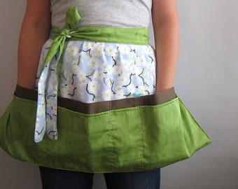 Cafe Apron, Hip Apron, Half Apron with pockets - White cherry blossom - light blue, yellow-green and brown