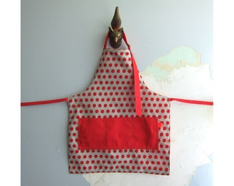 Toddler Apron with pockets - Red and grey-beige polka dots