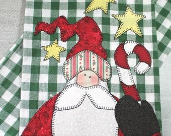 Chritmas Towel, Santa Towel, Christmas Decor, Appliqued Towel, Kitchen Towel