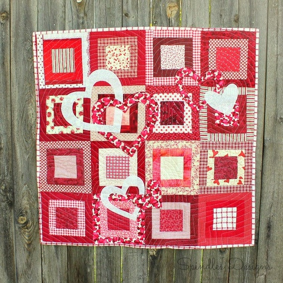 Valentine S Day Table Topper Pattern Heart Quilt Etsy