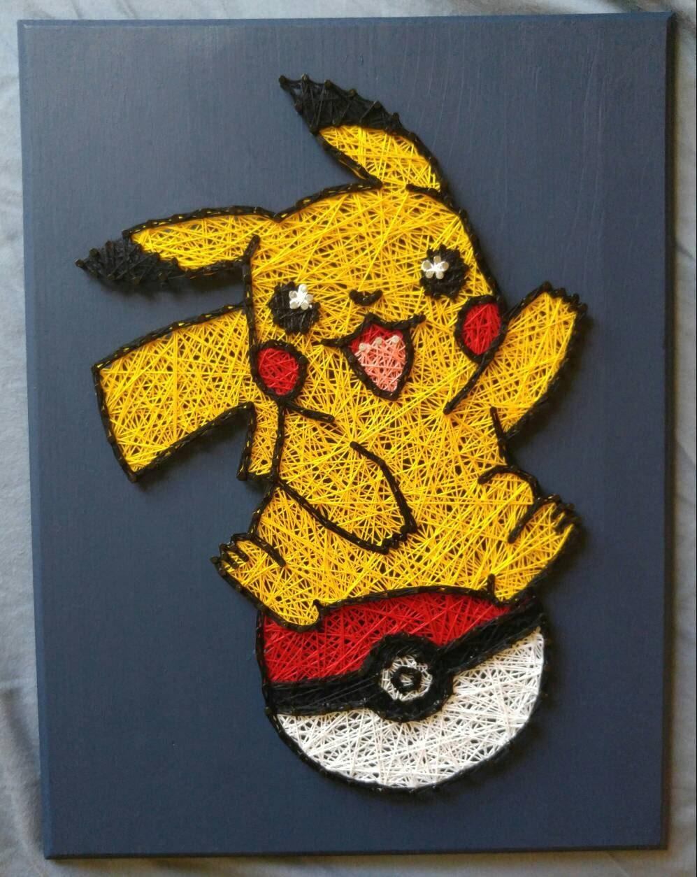 Pikachu Pokemon in Pokeball String Art | Etsy