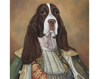 Spaniel Canvas Print, SIr James, English Springer Spaniel, Dog In Costume