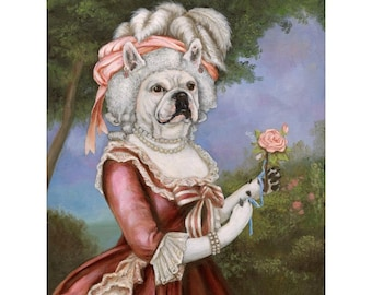 3a8ecb8aaf44 Frenchie Canvas Print, Frenchie Napoleon, French Bulldog In Clothes
