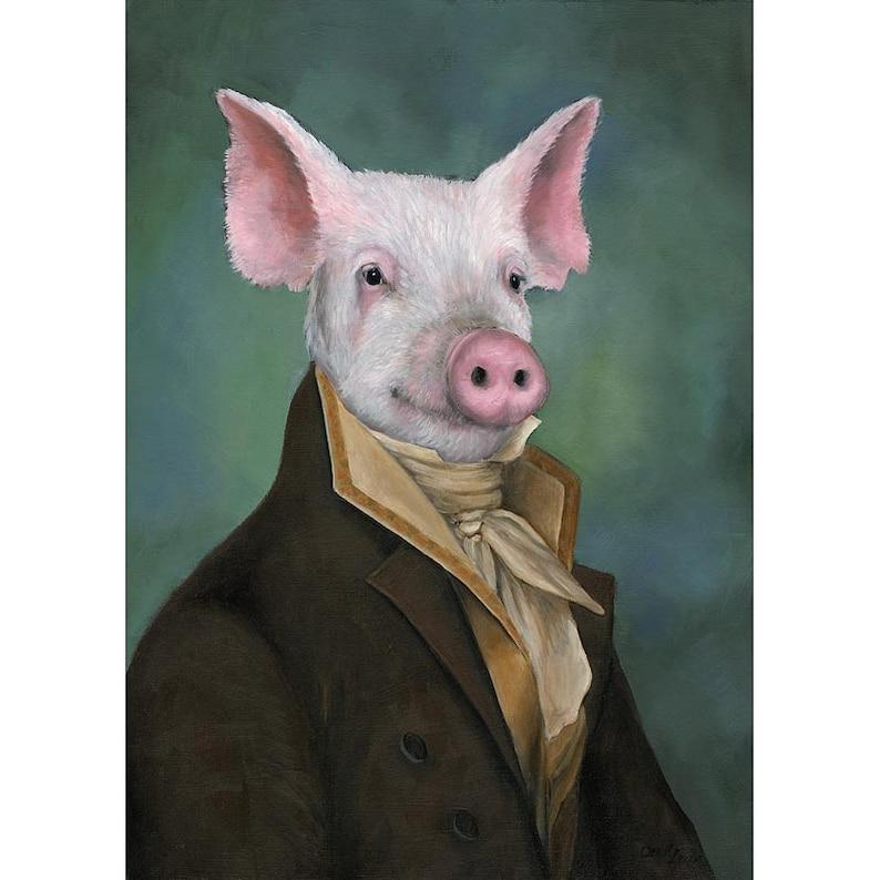 Pig Art Prints Mister Piggy Pig Gifts Pig in Clothes Pig image 0