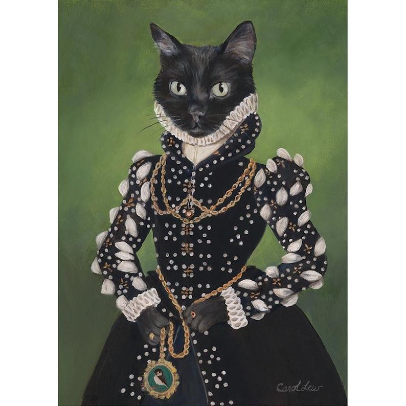 Black Cat Art Prints Isabel Black Cat Portrait Cat Princess image 0