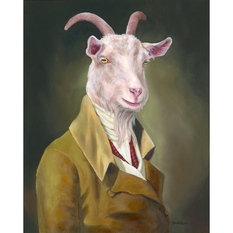 Vintage Goat Art Canvas Prints Goat Wall Decor Goat Nursery image 0