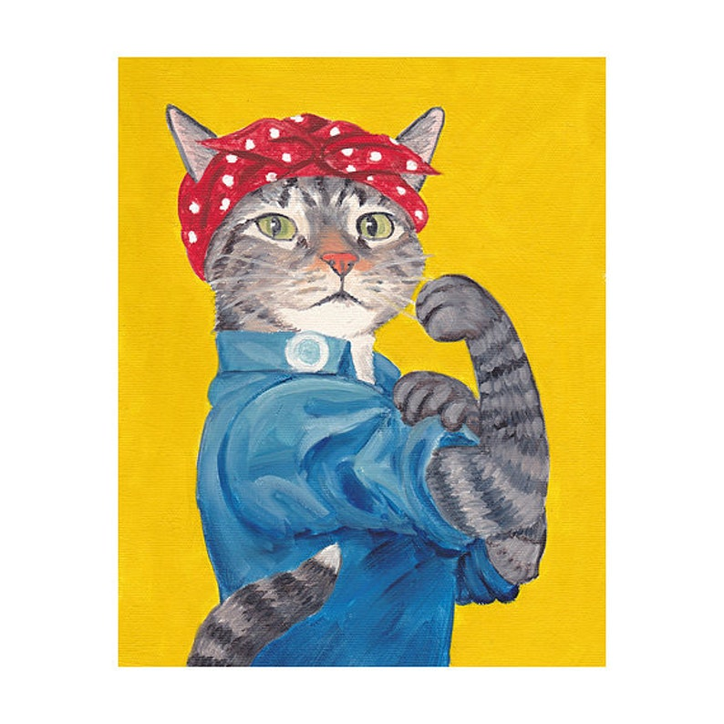 Rosie The Riveter Magnet Warrior Cats Cat Cave Cat Dad image 0