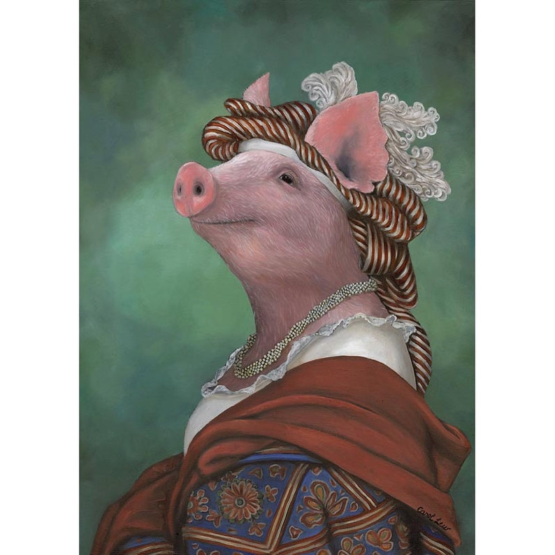 Pig In Clothes Prints Lady Piggy Pig in a Blanket Barnyard image 0