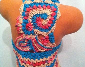 Crochet Vest Unique vest Circular freeform vest Boho hippie crochet vest