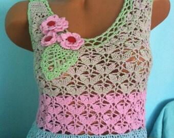Crochet dress Pink dress Boho summer dress Crochet summer dress with flowers Short dress Unique dress for summer in pink and green Sexy dres