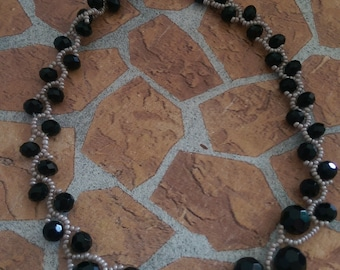 Necklace Beaded necklace in gray and black Midnight sparkle necklace