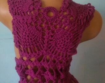 Crochet boho vest with fringes Vest Butterfly vest