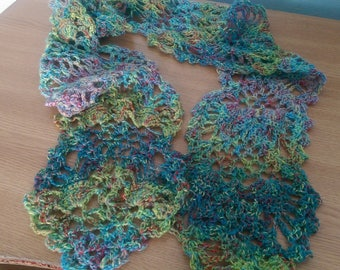 Scarf Crochet lace scarf Unique lace scarf  Hand spin yarn scarf OOAK scarf Pineapple motives scarf