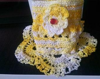 Bohemian Bracelet Sunny Day in white and yellow Shabby chic bracelet Bono dream cuff