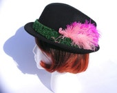 Funky Pink Flamingos on Black 100% Wool Fedora. Adult Large/XL Women's Hat. Astroturf included.
