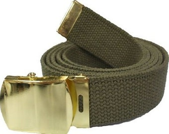Olive Drab Belt   Gold Buckle 100% Cotton Military 54