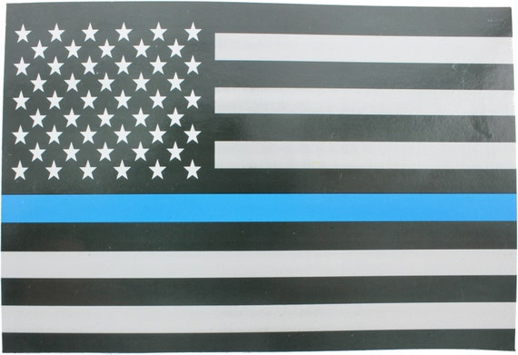 Thin Blue Line Support The Police American Flag Sticker  1bb132500ab